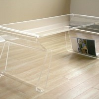 Unique Acrylic Clear Coffee Table with Magazine Rack