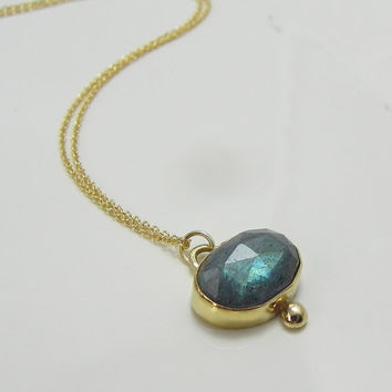 SALE- Labradorite Necklace 14k Gold Blue Flash
