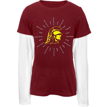 USC Trojans - Rhinestone Ray Logo Girls Juvy 2fer Long Sleeve T-Shirt