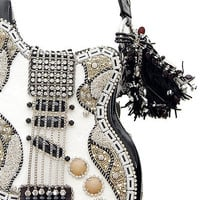 MARY FRANCES Graceland Guitar Evening Bag - Unique Vintage - Cocktail, Evening, Pinup Dresses