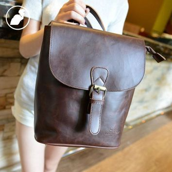 ETONWEAG New 2017 women brands cow leather brown cover mini vintage new design backpacks fashion travel bags luxury school bags