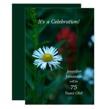 75 Years Old Birthday Party Invites White Flower
