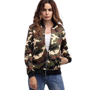 Autumn Camo Plus Size Basic Jackets Women Bomber Jackets Casaco Feminino Fashion Coat Women Print Clothes Harajuku Roupas Coats
