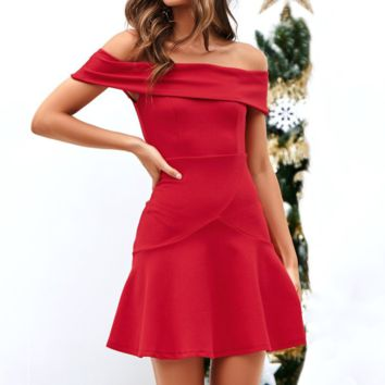 Fashion New Solid Color Strapless Short sleeve Dress Women Red
