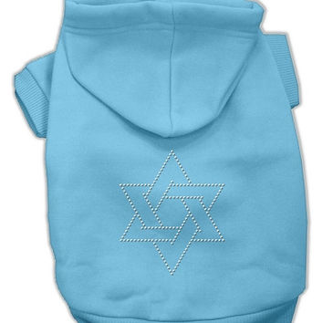 Star of David Dog Hoodie Baby Blue/Medium