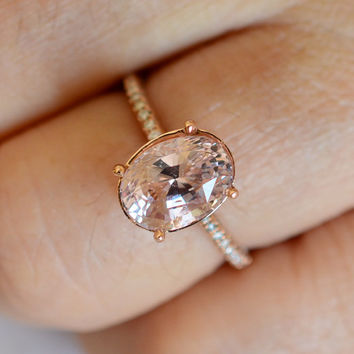 CERTIFIED UNHEATED super fine 3.52 carat peach sapphire in a 100 diamonds micro pave fine quality setting, engagement ring 889P