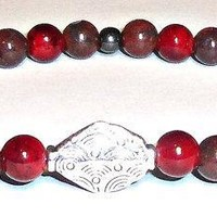 "Men's Bracelet Genuine Japser, Quartzite, Hematite & Focal Point :Sliver Plated Copper Bead ""The Secret To Happiness"""