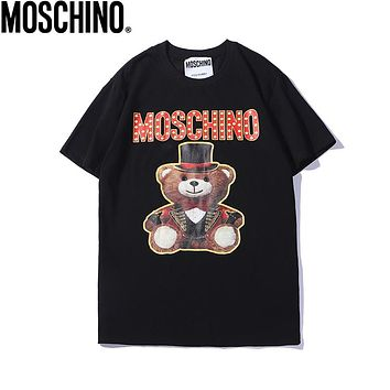 MOSCHINO Trending Women Men Leisure Cute Bear Print Round Collar T-Shirt Top Black