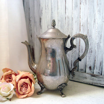 Vintage Silver Plate Tea Pot, Cottage Chic Teapot, Tarnished Patina Rustic Tea Pot, Shabby Chic Decorative Tea Pot, Home Decor, Gift Ideas