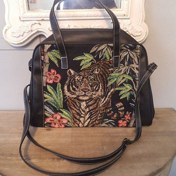 Vintage Carry On Bag ~ Large Embroidered Beaded Tiger Shoulder bag with removable straps ~ Exotic Black