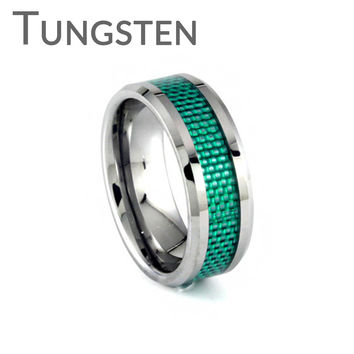 Lust for Life – Woven green inlay bevelled edge tungsten men's ring