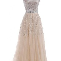 Emma Y Exquisite Sweetheart Tulle Long Prom Dress Party Gowns-US Size 12 Champagne
