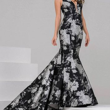 Jovani - Floral Mermaid Dress with Long Train 40903