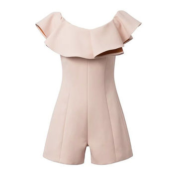 Stylish Korean Ruffle Slim Women's Fashion Shorts Jumpsuit [5013110788]