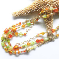 Orange and green glass necklace - 3 strand necklace, layered necklace, glass necklace, summer jewelry, triple strand necklace