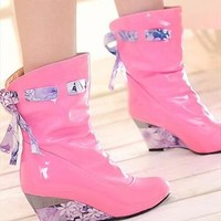high-heeled patent leather boots from sniksa