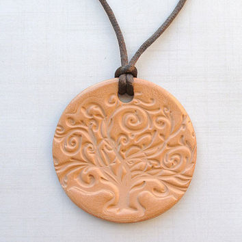 Tree of Life Terracotta Diffuser Necklace - Essential Oils - Faux Suede,Satin Cord -Large unglazed Terra Cotta Clay Pendant Nature Floral