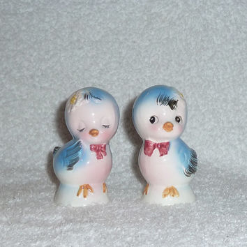 Vintage Norcrest Bluebird Salt and Pepper Shakers Lefton Blue Bird Figurines