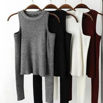 HOT WOVEN OFF SHOULDER LONG SLEEVE KNIT TOP BLOUSE SWEATER SHIRT