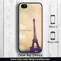 Paris Eiffel Tower iPhone 5 Case iPhone 5S / 4S / 4 Case Romantic Montage Sunset photograph postcard Back Cover  --000084