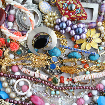 RESERVED for MARY SALLY - Custom Vintage Costume Jewelry Wholesale Lot - Over 50 Pieces of Retro Jewelry, Necklaces, Earrings, Brooches