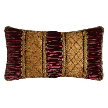 "Her Majesty Oblong Pillow with Ruched Velvet Detail, 13"" x 25"" - Sweet Dreams"