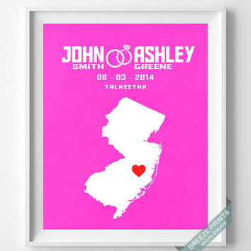 Anniversary, Print, New Jersey, Wedding, Customized, Couple, Personalized, Gift, Map, Custom, Wall Art, Home Decor, Marriage, Love [NO 29]