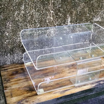 Mid Century Lucite Acrylic Letter Tray