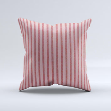 Pink Vintage Stripe Pattern v7 ink-Fuzed Decorative Throw Pillow