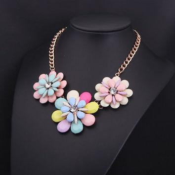 Flower Statement Necklace Gemstone Necklace Bubble Necklace Bib Collar Necklace Jewelry Bridal Necklace Jewelry Wholesale Necklace Jewelry