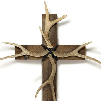 "Deer Antler, Antler Decor, 14"" x 24"", Barnwood Cross, Western Home Decor, Rustic Wall Hanging, Log Home Decor"