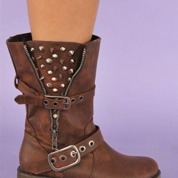 Guns N Roses Rocker Boot - Brown at Necessary Clothing