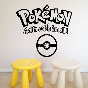 WXDUUZ Home Wall Vinyl Decor Stickers Of  Gotta Catch  All living room space Vinyl Wall Sticker  Home Decor B369Kawaii Pokemon go  AT_89_9