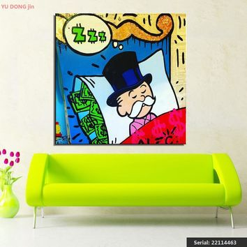 Alec monopoly sleeping idea huge new Graffiti art print on canvas for wall picture decor oil painting in living room 22114463