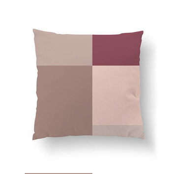 Pink Burgundy, Textured Rectangles, Throw Pillow, Watercolor Pillow, Home Decor, Decorative Pillow, Simple Art, Geometric Art, Cushion Cover