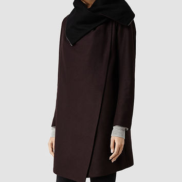 Womens Jax Coat (Burgundy) | ALLSAINTS.com