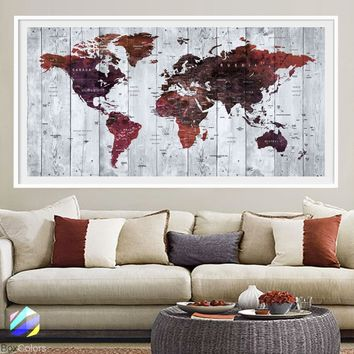 XL Poster Push Pin World Map travel Art Print Photo Paper watercolor wood texture Wall Decor (frame is not included)(P23) FREE Shipping USA