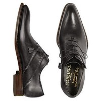 Forzieri Designer Shoes Black Italian Handcrafted Leather Oxford Dress Shoes