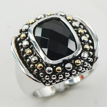 Black Onyx Women 925 Sterling Silver Ring F955 Size 6 7 8 9 10