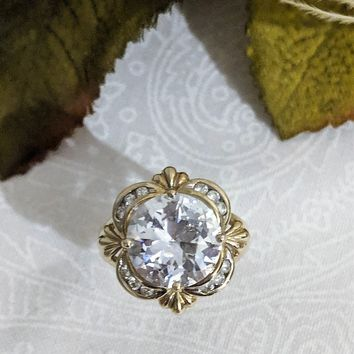Stunning 10K Yellow Gold Huge 18mm CZ Victorian Style Ring