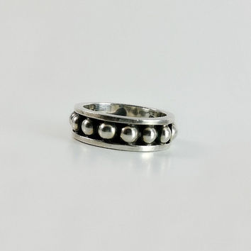 Sterling Silver Band Ring Size 7.5 - Thick Silver Ring - Unisex Silver Ball Ring - Vintage Mexican Sterling Ring