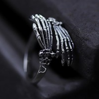 925 Sterling Silver Ring Vintage Punk skulls Hand Charm Boho Minimalism Birthday Gift Haut Femme Anillos Rings for Women Jewelry