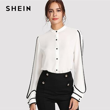 SHEIN White Elegant Stand Collar Long Sleeve Button Black Striped Blouse Women Workwear Shirt Top