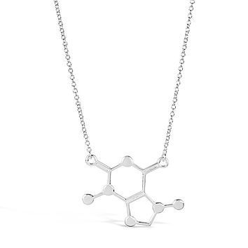 Silver Caffeine chemical Molecule Necklace for Coffee Lovers