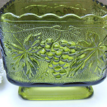 Vintage Green Glass Footed Square Bowl Grapevine Pattern