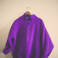 Vintage Columbia Fleece Zip Up Bright Purple Jacket Oversized Coat Size Ladies Extra Large XL Snow Coat Hiking Thermal Polar Fleece