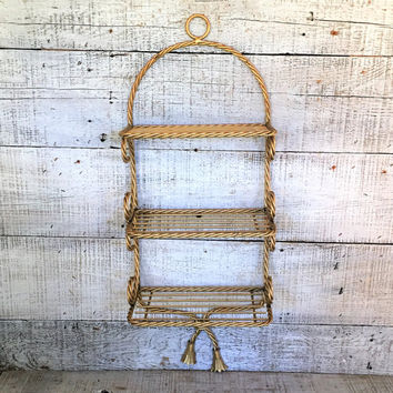 Brass Shelf Hollywood Regency Brass Wall Shelf Wall Mount Shelf Gold Shelf Brass Tassel Rope Shelving Unit Mid Century Wire Shelving Unit
