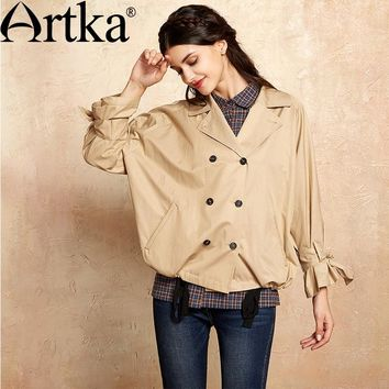 Artka 2017 Women's Autumn Trench Double Breasted Ruffle Coat Short Jacket For Women Vintage Trench Casual Short Jacket WA10076Q