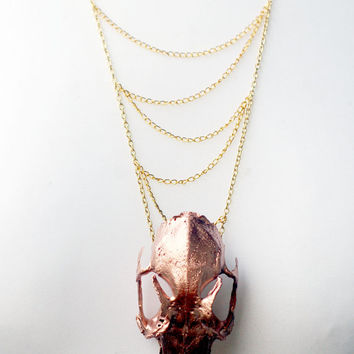 Beautiful real animal skull hand painted metallic copper taxidermy chainmaille real rabbit skull gold chain necklace