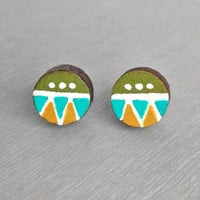 Painted Wood Stud Earrings - Tribal Pattern Green Post Earrings - Colorful Geometric Earrings
